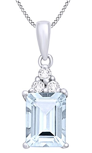 AFFY Emerald Cut Simulated Aquamarine & White Topaz Solitaire Pendant Necklace in 925 Sterling Silver