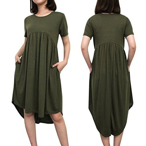 Largos Verano De Manga AIMEE7 Ejército Vestidos Sueltos Del Grande Playa Mujer Vestido Vestidos para Mujer Vestido Talla Corta De Vestidos Verde Mujer Mujer Vestidos 2018 Bolsillo HPpx5zwqO