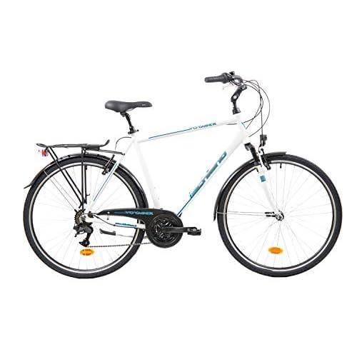 F.lli Schiano Voyager Bicicleta Trekking, Men's, Blanco-Azul, 28'' a buen precio