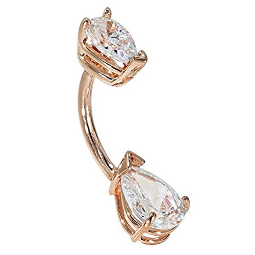 (FreshTrends Double Pear Shape CZ 14k Rose Gold Belly)
