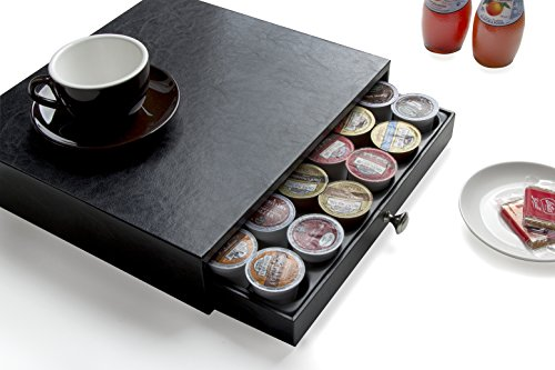 Jack Cube Leather K-Cup Holder Organizer Storage K Cup Holder with Drawer(Black, 13.6 x 12.8 x 2.95 inches)-MK214