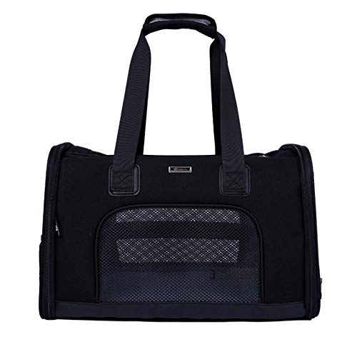 Black Pet Carrier Compatible Dog and Cats,Travel Collapsible for Small Puppy Up to 15lbs, Soft Side Dog Crate, Portable Kennel for Puppies,Black