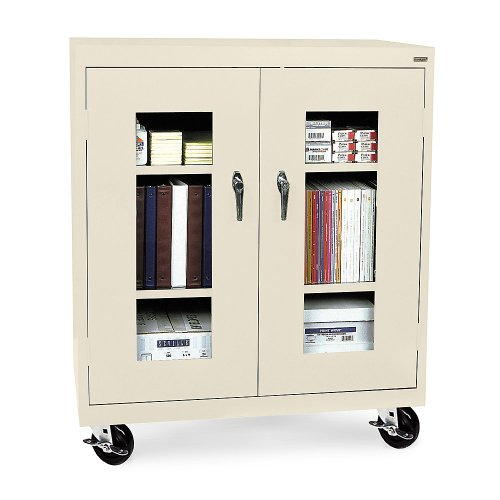 (Sandusky Lee TA2V362442-07 Elite Series Transport Mobile Clear View Counter Height Storage Cabinet,)