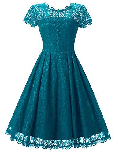 Tecrio Women Elegant Vintage Floral Lace Capshoulder Cocktail Party Swing Dress M Emerald Green
