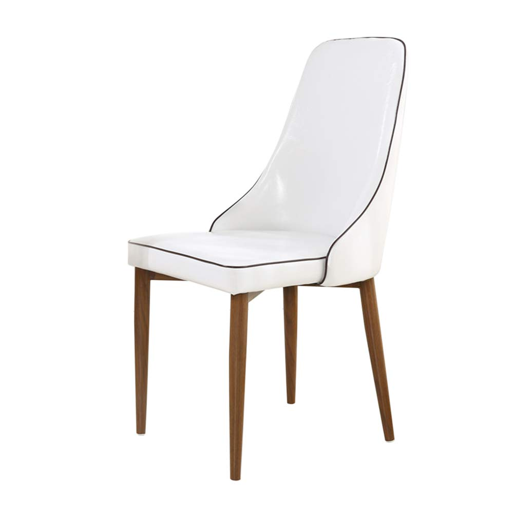 Oil wax leather black white Dark metal legs Nordic Pu Leather Dining Chair, Imitation Wood Office Chair,Waterproof, Antifouling, Easy to Clean,for Restaurant Pub Cafe Living Room Hotel Balcony