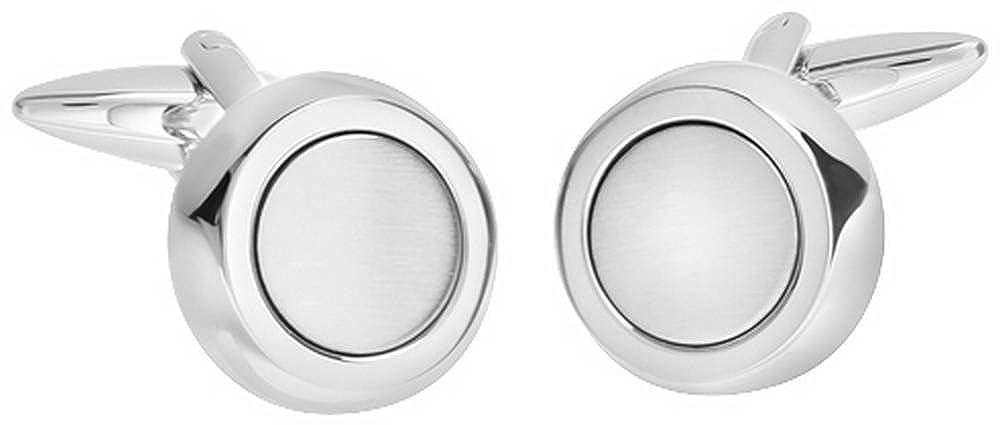 Silver David Van Hagen Mens Shiny Brushed Circle Cufflinks