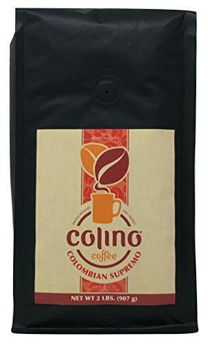 100% Colombian Supremo Whole Bean Coffee Bag, Fresh Gourmet Excelso Coffee Single Origin, Highest Quality Grade Dark Roast, Colino Coffee. (2 Pound) ()