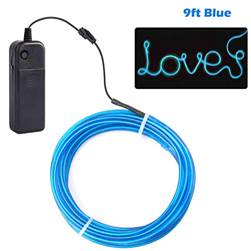 Cefrank El Wire Blue, 9ft Neon Lighting Electroluminescent Wire, Portable Neon Lights - 9ft Blue