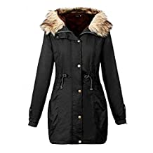 Hanican Womens Thicken Coat Fur Collar Hooded Jacket Winter Long Overcoat Plus Size Outerwear