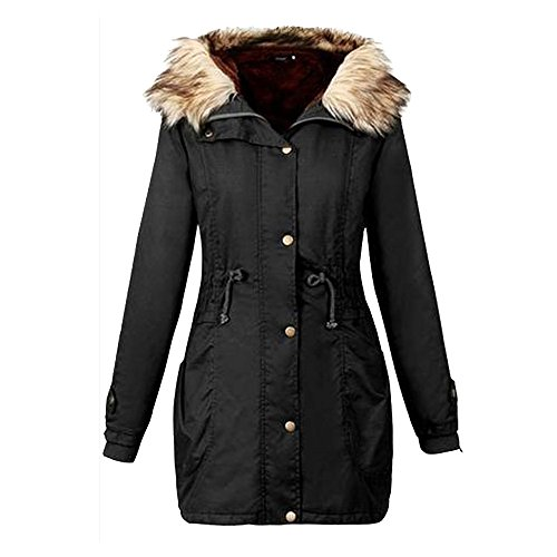 Winter Jackets Coat Cardigan Hooded Parka Warm AfterSo Womens (US:16, Black - 1) -
