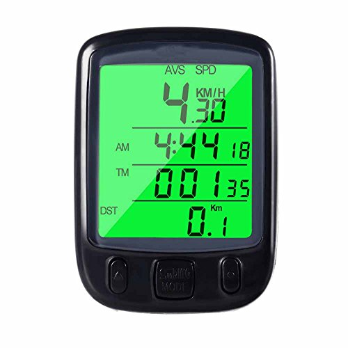 Ezyoutdoor ABS Wired Bicycle Computer Waterproof LCD Display Cycling Bike Bicycle Computer Odometer Speedometer with Green Backlight (Mountain Bike Distance Tracker)