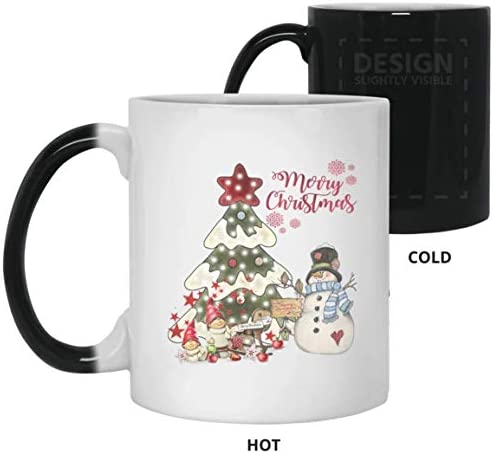 YaMe - Merry Christmas Mugs Pine Tree With Snowman Funny Mug Perfect Gift For Yourself Friend Family Colleague Color Changing Ceramic Coffee Mug Tea Cup (Color Changing Mug, 11oz)
