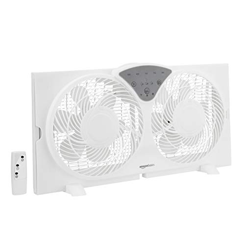 AmazonBasics Digital Window Fan with Twin 9-Inch