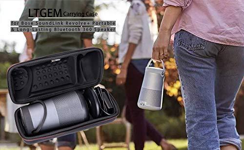 LTGEM EVA Custodia rigida per Bose SoundLink Revolve Plus Altoparlante Bluetooth 360 portatile e duraturo adatta alla base di ricarica all adattatore CA e al cavo USB Custodia nera