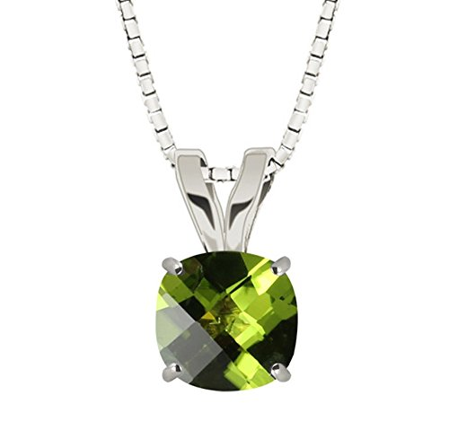Hdiamonds Sterling Silver 8mm Checkerboard Cushion Gemstone Pendant with 18 Chain