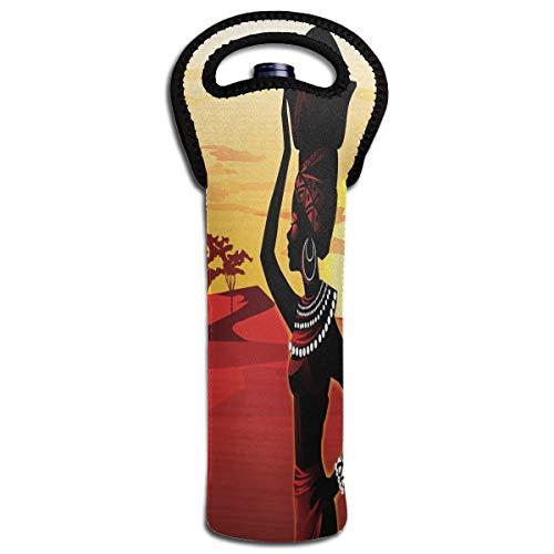 Wine Bag African Women Art 1 Bottle Red Wine Tote Bag Protective Single Water Handle Bag