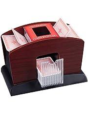 Relaxdays, zwart-bruin kaartenschudder, elektrisch, hout, 4 decks, kaartenschudmachine voor het mengen van kaarten, standaard