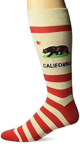 Hot Sox Men's Travel Series Novelty Crew Socks, California (Beige), Shoe Size: 6-12 ()