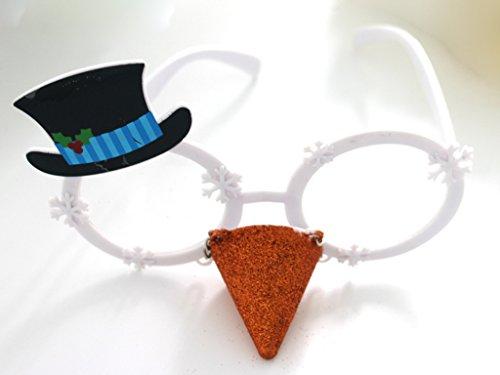 [Novelty Glittered Christmas Decoration Fanci-Frames Party Accessory Snowman Eyeglasses] (Snowman Halloween Costumes)