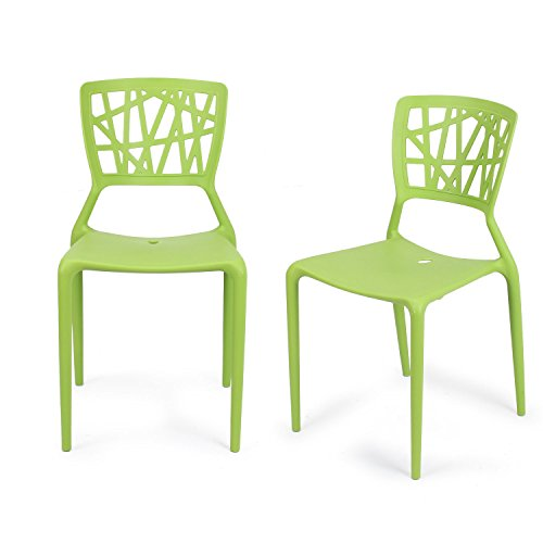 Cheap Adeco Polypropylene Hard Plastic Dining Chairs, Fun Living Dining Room Set of 2, Green