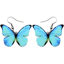 Bonsny Drop Dangle Big Morpho Menelaus Butterfly Earrings Fashion Insect Jewelry For Women Girls