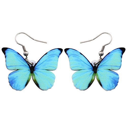 (Bonsny Drop Dangle Big Morpho Menelaus Butterfly Earrings Fashion Insect Jewelry For Women Girls)