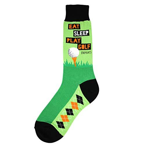 Premiere Golf Shoes - Foot Traffic - Men's Sports-Themed Socks, Eat Sleep Golf (Men's Shoe Sizes 7-12)