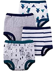 Lamaze Organic Baby Boys Reusable and Washable Toddler Potty Training Pants, Cotton Cloth, 4 Pack, Blue/White/Animal, 3T