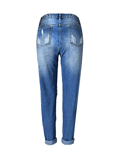 Distrutti Slegato Marino2 Pantaloni Vita Buco Donna Diritti Jeans Alta Blu Da Strappato wxBI70nOq