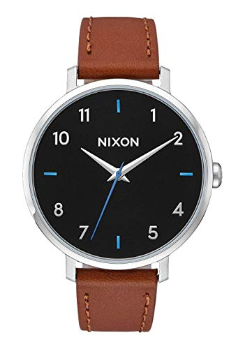 Nixon Arrow Leather Black/Brown Casual Women's Watch (38mm. Black Face/Brown Leather Band)