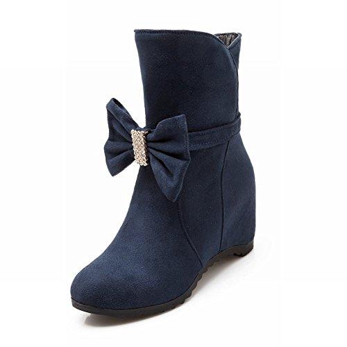Latasa Mujeres Cute Big Bow Mid Wedge Heel Botas Slouchy Cortas Azul Oscuro