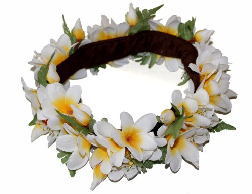 The White and Yellow Hawaii Plumeria Headband-haku lei