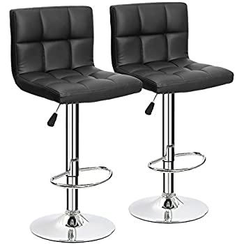 furmax black leather bar stools counter height modern adjustable synthetic leather swivel bar stoolset
