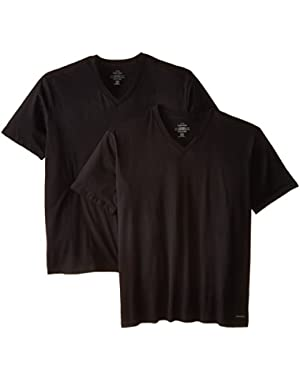 Calvin Klein Men's Big-2 Pack Cotton Classics Short Sleeve V-Neck T-Shirts