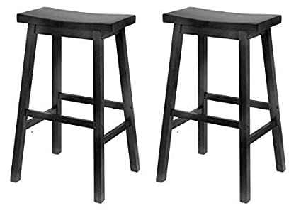 Enjoyable Winsome Wood 29 Inch Saddle Seat Bar Stool Black Pack Of 2 Pabps2019 Chair Design Images Pabps2019Com