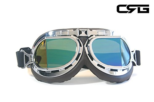 (CRG Sports Vintage Aviator Pilot Style Motorcycle Cruiser Scooter Goggle T08 T08SRD Multi-color lens, silver frame, dark chocolate padding)