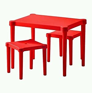 Generic .. Set 3 P Children Table ble Se Game Play Study 3 PC Re Activity Kids ctiv Set 3 PC Red Chairs Kids Roo Room Furniture ..