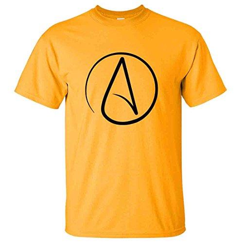Atheist Black Print T-shirt/tee - Gold Large