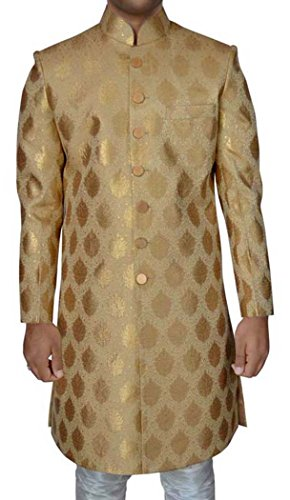 INMONARCH Mens Golden Brocade 2 Pc Wedding Sherwani SH517L38 38 Long Golden by INMONARCH