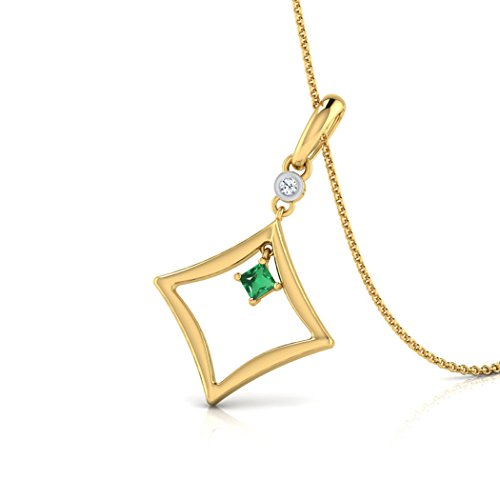 14K Or blanc 0,01carat au total Round-cut-diamond (IJ | SI) et pendentif Émeraude