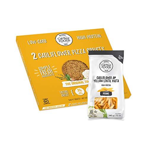 Califlour Pizza Crusts & Penne Pasta Bundles - 1 Box of Original Italian Crusts (2 Crusts Total) & 1 Bag of NEW Califlour Penne: Cauliflower & Yellow Lentil High-Protein Pasta (Grain Free)