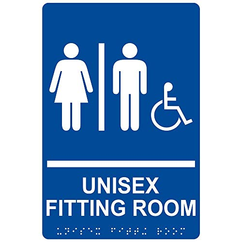 Accessible Unisex Fitting Room Sign, ADA-Compliant Braille and Raised Letters, 9x6 in. Blue Acrylic Plastic with Mounting Strips by -