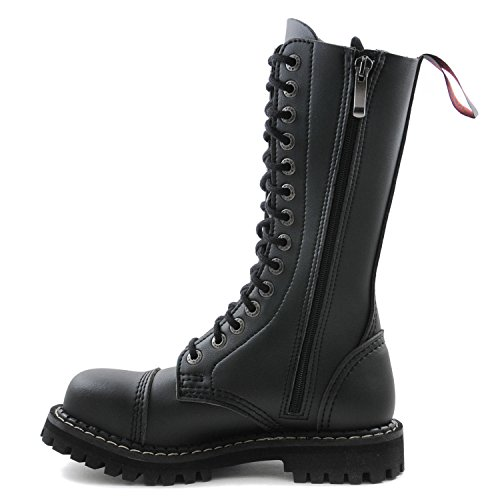 Ranger Leather Vegan Army 14 Itch Angry Boots Hole Combat Zip Toe Steel Black ZqTYZ81w