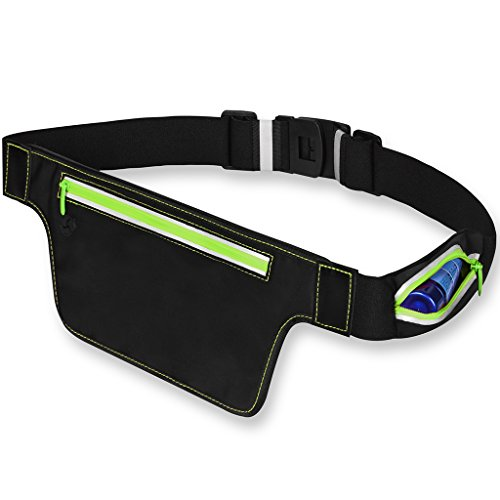 Eyourlife Running Belt Waist Pack Adjustable Fanny Pack Fit iPhone x 8 7 iPod Samsung Note Phone Water Resistant Sports Running Pouch In Climbing Cycling Hiking Fitness (Green)