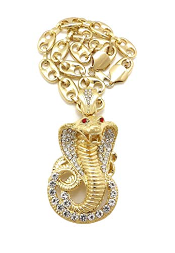 NYFASHION101 Stone Stud King Cobra Snake Pendant with 12mm Mariner Chain Necklace in Gold-Tone, 30