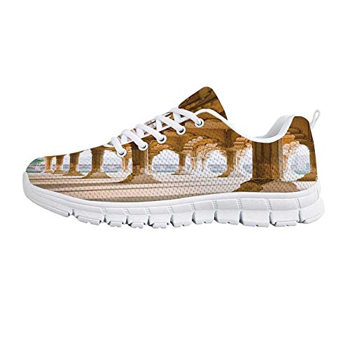Pillar Comfortable Sports Shoes,Historical Theme Gallery of Pillars at Agra Fort Ethnic Digital Image Decorative for Men & Boys,US Size 6.5