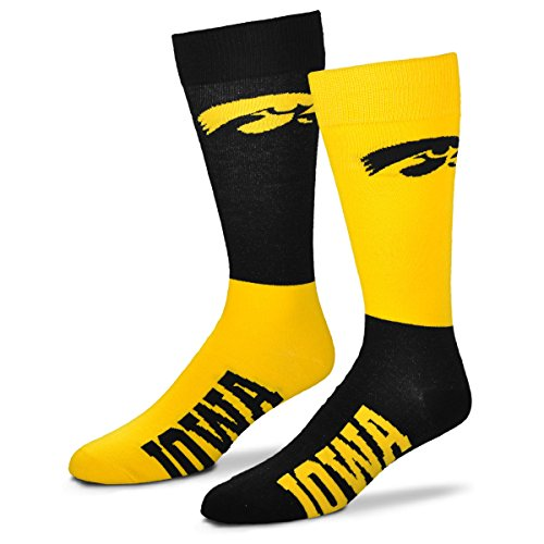 - For Bare Feet Men's NCAA 4-Square Mismatch Dress Socks-Size Large (10-13) (Iowa Hawkeyes)