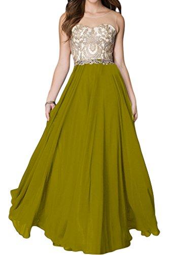 ivyd ressing Mujer de gran calidad Punta applikation redonda cuello largo línea A Prom vestido Fiesta Vestido para vestido de noche Verde Oliva