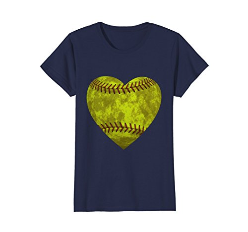 Distressed Heart (Womens Softball Distressed Heart T-Shirt Cute Mom Love Tee XL Navy)