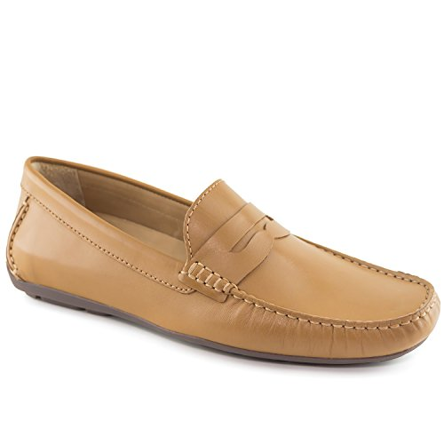 Driver Club USA Mens Genuine Leather Made in Brazil Hollywood Tan Napa Penny Loafer 9